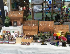 Image of jewelry, glass art, and wood craft pieces from Green Pisces Designs.