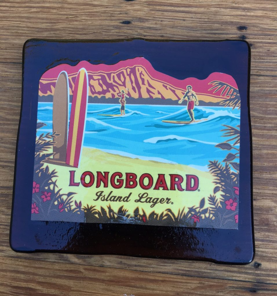 Beer bottle coaster with Kona Label